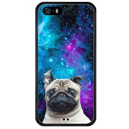iPhone 5s 5 SE Case with Galaxy Pug Pattern Whimsical Design Bumper Black Soft TPU and PC Protection Anti-Slippery &Fingerprint Case for iPhone 5s 5 SE