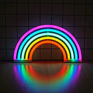 Rainbow Neon Light, Cute Colorful Neon Rainbow Sign, Battery or USB Powered Night Light as Wall Decor for Kids Room, Bedroom, Festival, Party (Multi 5 Colors, Rainbow-Large)