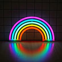 Rainbow Neon Light, Cute Colorful Neon Rainbow Sign, Battery or USB Powered Night Light as Wall Decor for Kids Room, Bedroom, Festival, Party