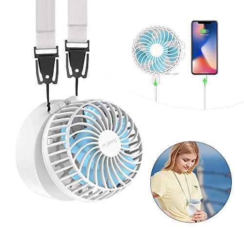 HandFan Handheld kettingventilator Draagbare ventilator Oplaadbare batterijvoeding 3 instelling 180 ° roterend met make-upspiegel op palmformaat 2600 mAh Powerbank voor reizen/vissen/kamperen