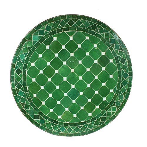 Casa Moro Mesa de jardín mediterránea | Mosaico marroquí Verde Esmeralda | Diámetro 60 cm con...