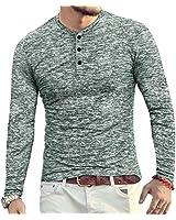 YTD Mens Casual Slim Fit Basic Henley Long Sleeve Fashion T-Shirt L Dark Green