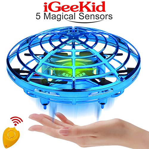 iGeeKid Hand Operated Mini Drones Kids Flying Ball Toy for Boys Girls Age 4-14 Year Infrared Induction Helicopter UFO Drone with 360° Rotating LED Light Outdoor Sports Toy[Blue]