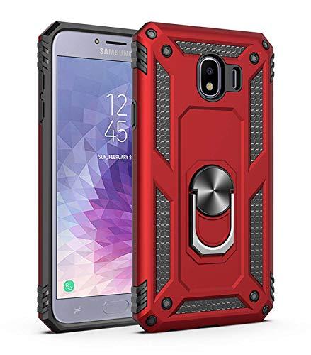JMstore Funda Compatible con Samsung Galaxy J530/J5 (2017) Anillo Soporte[Funciona con El Montaje Coche Magnético]+Protectores Pantalla(Rojo)