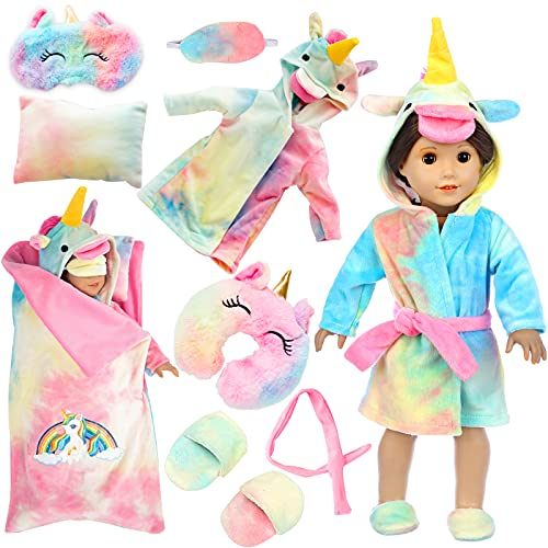 XFEYUE 18 inch Doll Clothes and Doll Sleeping Bag Set - Rainbow Unicorn Doll Costume with Unicorn Style Sleeping Bag, Pillow, Eye Mask Slumber Party Accessories Fits American 18 Inch Girl Doll