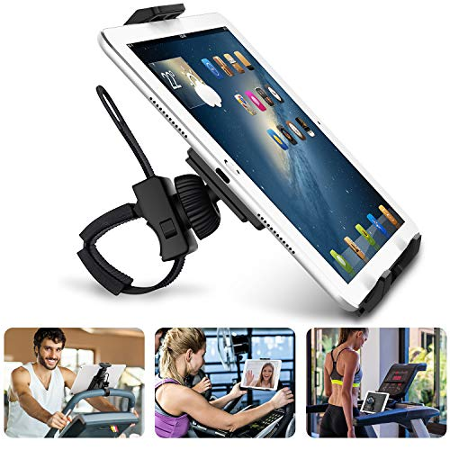 AboveTEK Universal Phone Tablet Bicycle Mount, Spinning Bike and Tablet Holder for Gym Exercise Bike & Treadmills -Flexible Cradle, Adjustable 360° Swivel Holder for 3.5-12' Smartphones