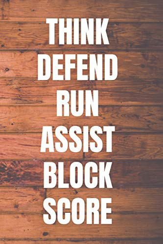 THINK DEFEND RUN ASSIST BLOCK SCORE: Basketball Coach Notebook | 110 Pages to Write In Plays, Practice, Goals, Notas | Perfect Gift for Basketball Coaches