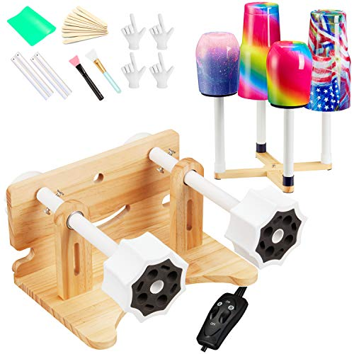 LFSUM Double Cup Turner for Crafts Tumbler Woode Double Cup Spinner Machine Kit,Turner DIY Glitter Epoxy Tumblers (Double-Wood)