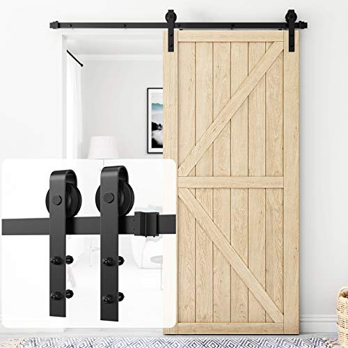 Homlux 6.6ft Heavy Duty Sturdy Sliding Barn Door Hardware Kit Single Door - Smoothly and Quietly - Simple and Easy to Install - Fit 1 3/8-1 3/4' Thickness Door Panel(Black)(J Shape Hangers)