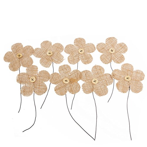 Pixnor en toile de jute Toile Prune Fleurs Lot de 8 pour décoration de Noël mariage (Marron)