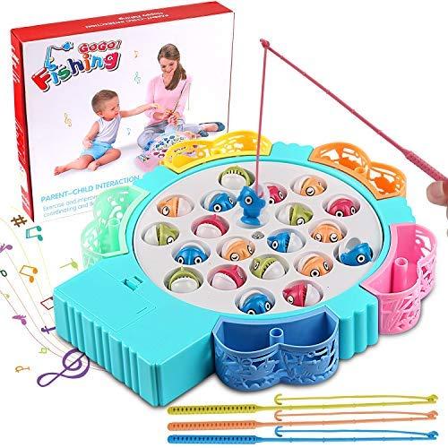 StillCool Angelspiel Angeln Brettspiel Game Set mit Musik , 21 Fisch 4 Angelruten Heißschrumpfschlauch für Kinder von 3–5 Jahren Pädagogisches Spielzeug