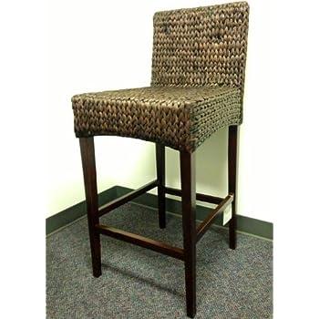 Bar Stools And High Table, Amazon Com Pebble Lane Living 2 Seagrass Handwoven Barstools Dark Furniture Decor