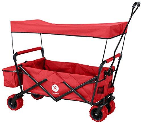 Miweba Faltbarer Bollerwagen MB-10 für Kinder - Bremse - Dach - PU-Breitreifen - Transporttasche - Klappbar - UV-Beständig – Handwagen faltbar (Rot)