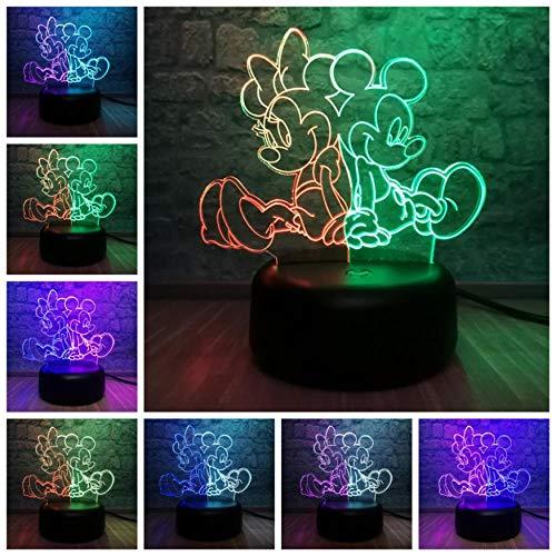 3D Illusion Nachtlicht Cartoon Maus Mickey Minnie LED Farbmischlampe Baby Raumdekoration Tisch Schlaf Nachtlicht Atmosphäre Weihnachten Geburtstagsgeschenk Spielzeug