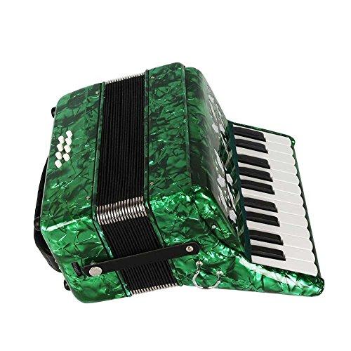 Dilwe Acordeón de Piano, Madera de Arce 22 Teclado 8 Bajo Acordeón Instrumento Musical Juguete con Correas Guantes Paño Limpio para Estudiantes Principiantes(Verde)