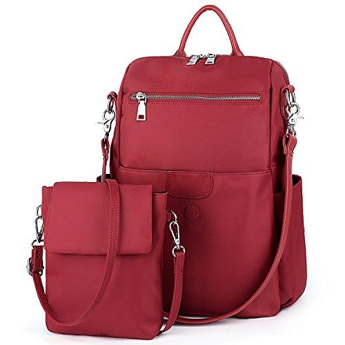 UTO Ladies Nylon Backpack Rucksack Handbag for Women with Detachable Crossbody Shoulder Bag Waterproof Oxford Cloths Red