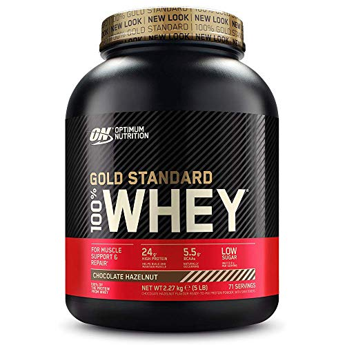 Optimum Nutrition Gold Standard Whey Muscle Building and Recovery Protein Powder With Glutamine and Amino Acids, Chocolate Hazelnut, 71 Servings, 2.27 kg, Packaging May Vary