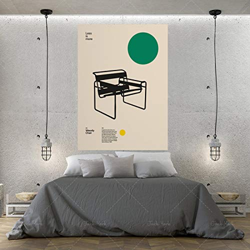 Leinwanddrucke und Poster Wassily Stuhl Marcel Breuer Minimale Möbel Bauhaus Design Wandkunst für Office Home Decor-50x70cmx1Kein Rahmen