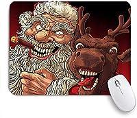 NINEHASA 可愛いマウスパッド クリスマスおかしいサンタクロースクレイジー喫煙葉巻トナカイ怒り漫画落書き ノンスリップゴムバッキングコンピューターマウスパッドノートブックマウスマット