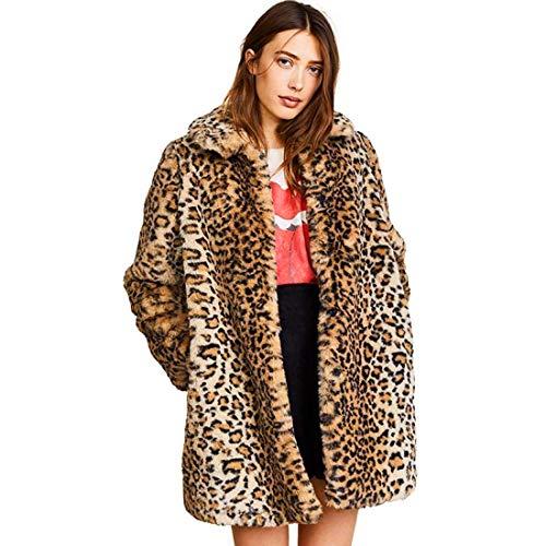 NewEGG Damen Leopard Kunstfell Mantel Casual Warm Parka Jacke Langarm Zottelmantel - - Medium