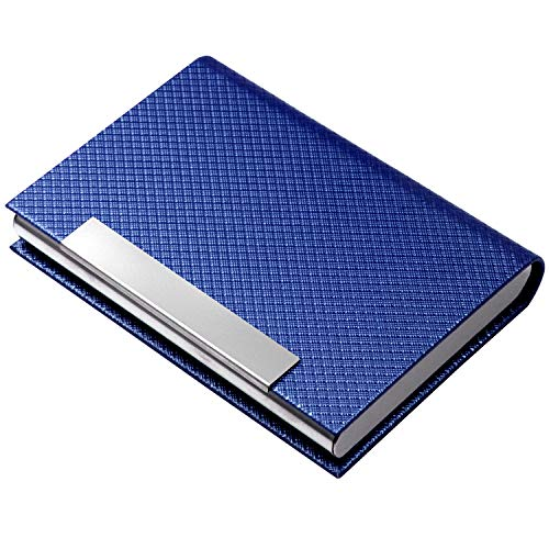 Padike Business Card Holder, Business Card Case Professional PU Leather & Stainless Steel Multi Card Case,Business Card Holder Wallet Credit Card ID Case/Holder for Men & Women. (T-Blue)