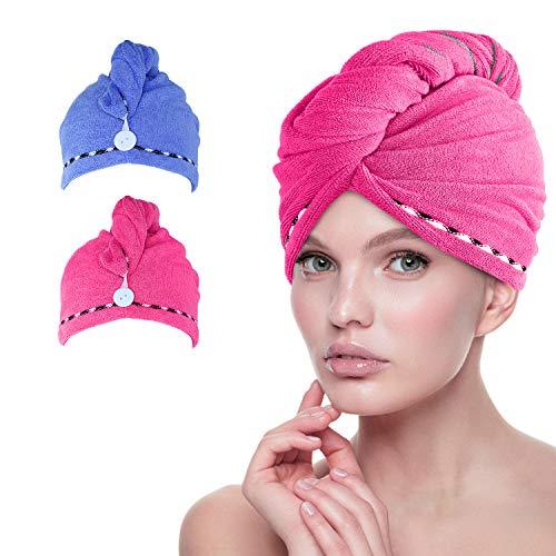 esafio 2er Pack Mikrofaser-Turban-Wickeltuch, schnell trocknend, sehr saugfähig, einzigartiges Design, Blau + Rosa Farbe für Frauen Mädchen