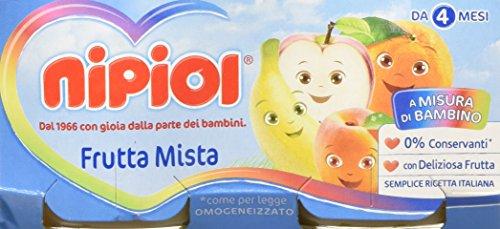 Nipiol Omogeneizzato Frutta, Frutta Mista - 24 Vasetti da 80 gr