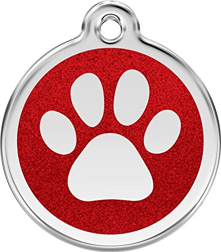 RED DINGO Hundemarke GLITTER Pfote rot, klein