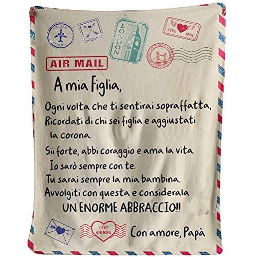 Gogias Manta de franela con mensaje personalizado, diseño de letras italianas, papá/mamá a mi hijo y mi hija, manta de franela súper suave, diseño de correo aéreo, manta acogedora