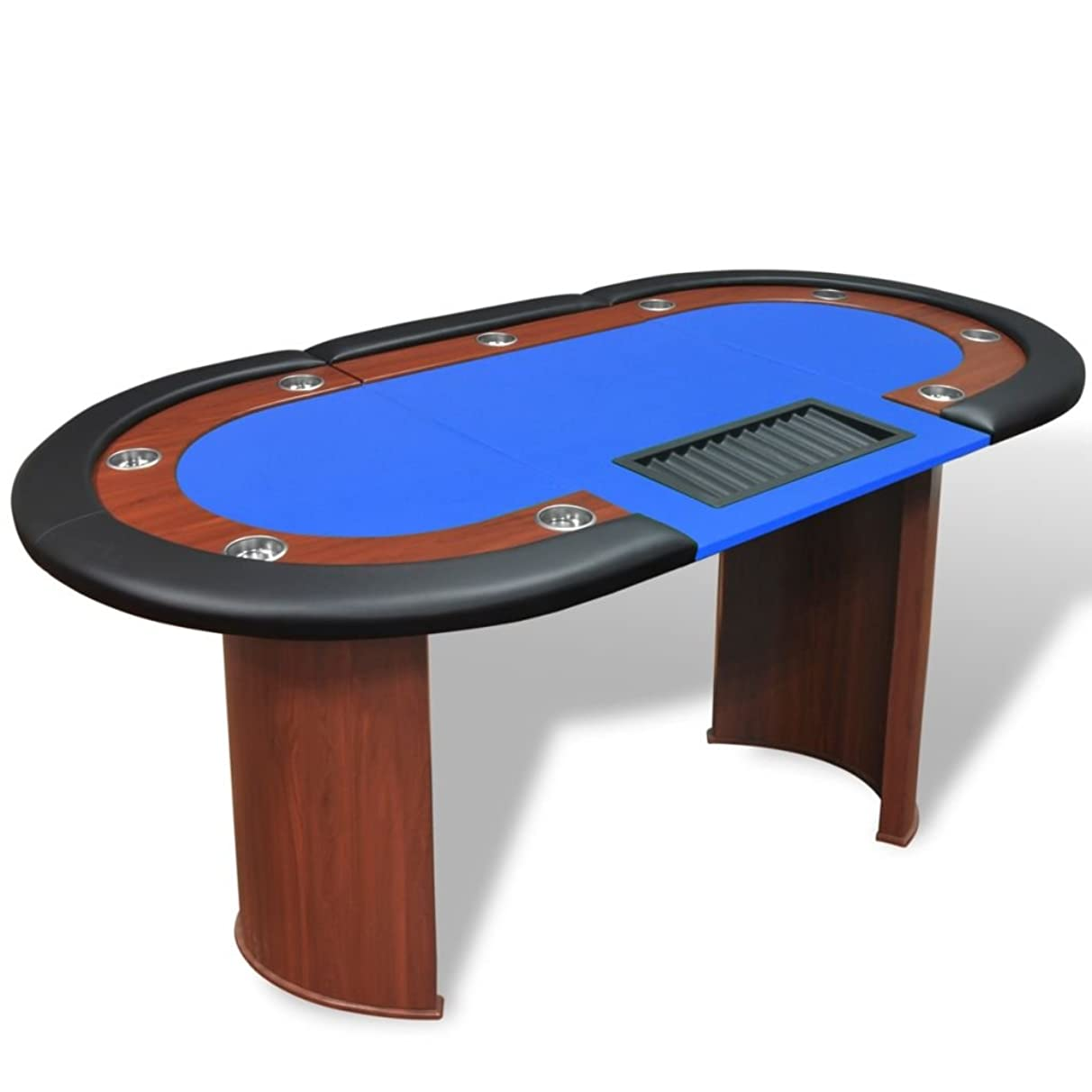 Festnight 10 Player Poker Play Table Luxury Casino Texas Holdem Card Game Table Cup Holder with Dealer Area Cushioned Rail and Removable Chip Tray 82