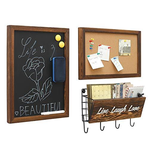 ChasBete 3er Set Kreidetafel, Pinnwand und Schlüsselbrett mit Ablage, Wandmontage, Tafel, Korkpinnwand, Ablagekorb für Eingang, Büro, Flur, Küche