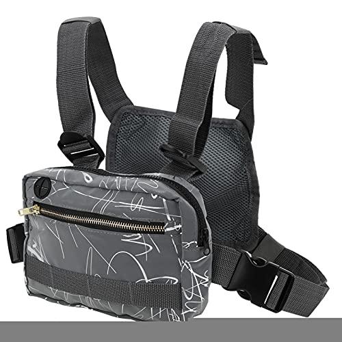 FOLOSAFENAR Diebstahlsichere reflektierende Brusttasche 600D Oxford Nylon Stoff Front Reißverschlusstasche, für Bewegungstrend, für Radsport(Grey Pattern)