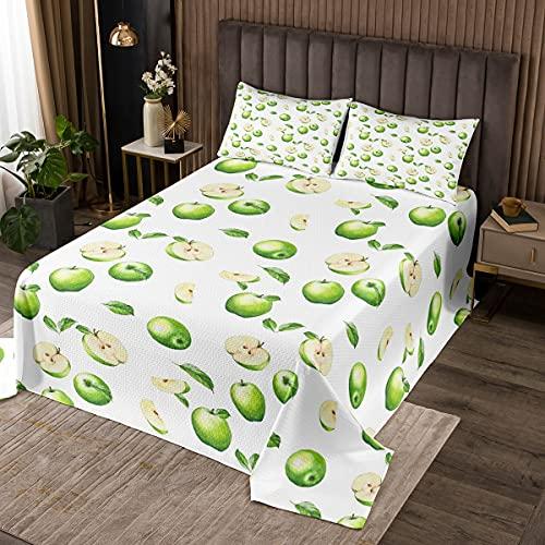 Loussiesd Apfel Tagesdeck 220x240cm für Mädchen Jungen Kinder Kinder Niedlich Grüne Äpfel Bettüberwurf Obst Steppdecke Lebendige Raumdekoration Helle Blätter Wohndecke 3St