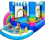 GLXLSBZ Casas inflables de Rebote para niños Castillo Inflable y tobogán con soplador de 350 W Piscina de Agua de Pozo de Bola pequeña Arco Iris (Entretenimiento al Aire Libre)