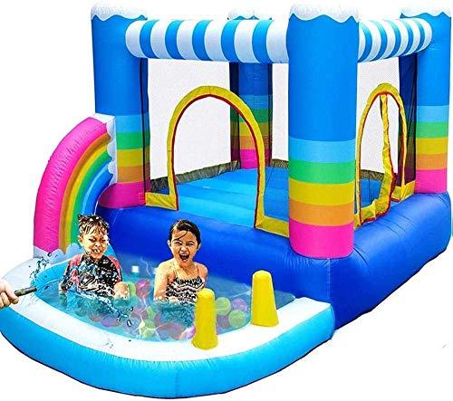 Nadmuchiwane domy Bounce dla dzieci Nadmuchiwany zamek i zjeżdżalnia z dmuchawą 350 W Mały basen z piłeczkami Basen z wodą Rainbow (rozrywka na świeżym powietrzu)