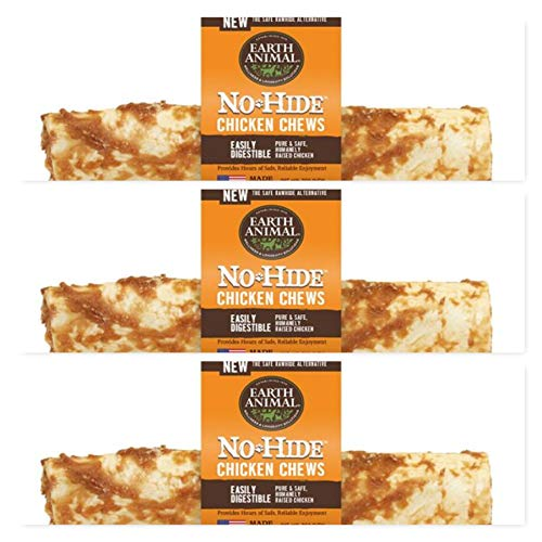 Earth Animal Raw Hide No Hide Dog Chews, Dog Treats. (Chicken) 11 Inch 3 Pack. The Safe Alternative to Raw Hide