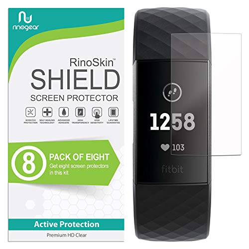 (8-Pack) RinoGear Screen Protector for Fitbit Charge 4 or 3, SE Case Friendly Fitbit Charge 4 or 3, SE Screen Protector Accessory Full Coverage Clear Film
