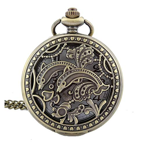ZJZ Borde Adornado Efecto Bronce Antiguo/Caja Vintage Collar de Reloj de Bolsillo de Cuarzo para Mujer en Cadena de 80 cm / 32 Pulgadas