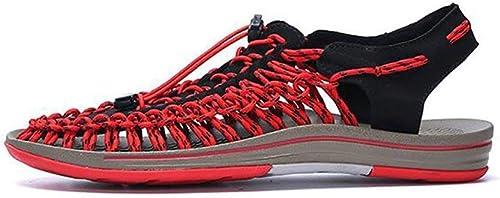 Nouveaux hommes Sandales Chaussures de plage Plein air été Hommes Occasionnels Chaussures Amoureux Sandales Romaines Baotou Tide Chaussures tissage Chaussures Hommes ( Couleuré   On , Taille   42 )