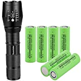 18650 Flashlight with 6PCS Flat Top 3.7v 18650 2500mAh Rechargeable Battery, 5 Mode Zoomable Waterproof Mini Flashlights 2000 Lumens for Camping Emergency Everyday Portable Flashlight