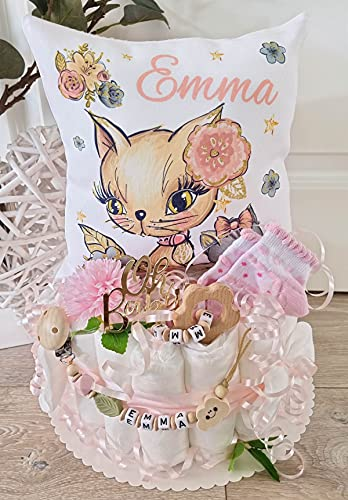 Luiertaart met naam – knuffelkussen kat I fopspeenketting & grijpling – cadeau, babyshower, geboorte of doop + op…