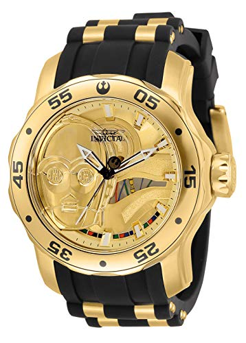 Invicta Men's Stainless Steel Quartz Watch with Silicone Strap, Gold, 26 (Model: 32519)