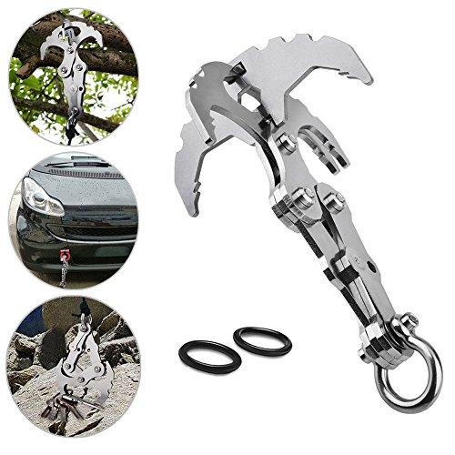 Cutogain Schwerkraft-Haken-Schlüsselanhänger, Multi-Werkzeug, Notfall-Überlebens-Klaue für Outdoor, Camping, Reisen, Klettern