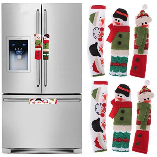 Wetrys - Juego de 6 Fundas para Tirador de Puerta de refrigerador, diseño de muñeco de Nieve de Navidad, decoración de Navidad, para Nevera, microondas, lavavajillas, electrodomésticos de Cocina