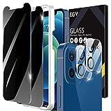 EGV [2+2 Pack] Protector Pantalla Compatible con iPhone 12 (6.1 Pulgadas), 2 Pack Protector de Pantalla de Privacidad y 2 Pack Protector de Lente de Cámara, Anti Spy Cristal Vidrio Templado
