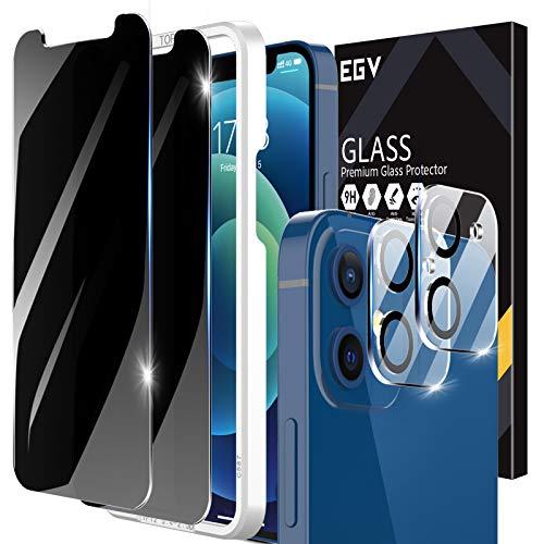 EGV 4 Stück Sichtschutz Kompatible mit iPhone 12 Mini 5.4 Zoll, mit 1 Null Fehler Positionierhilfe, 2 Sichtschutzfolie und 2 Kamera Panzerglas, Privacy Schutz, 9H Härte, HD Klar Displayschutzfolie
