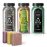 Paquete terapéutico orgánico Zen Rituals - 3 botellas de sales de baño y 3 barras de jabón vegano frío - enriquecido con aceites esenciales
