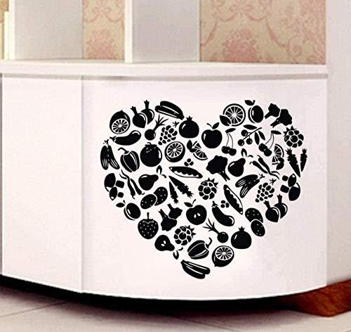 Pegatina de pared de vinilo adhesivo removible decoración de verduras y frutas pegatina de azulejos de cocina impermeable en forma de corazón 51x59C M