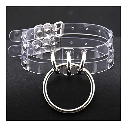 QYXJJ NoQYJ Eisen-Ring PU-Leder-Kragen-Halskette Punk Rock Gothic O-Ring-Halskette Frauen Neckband Gürtel Metall Harness Körper Cage (Color : E)