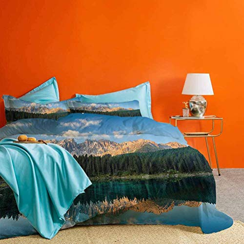 Lake House Decor Collection 3 Pieces Duvet Cover Lake with Mountain Forest Landscape Lago Di Carezza Wild Nature Scenic Picture Best Hotel Luxury Bedding Blue Green Teal Cal King (No Quilts/Inserts)
